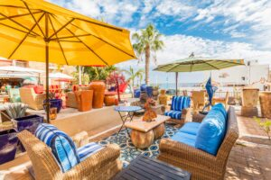 Collection of outdoor furniture from Sunset West on the terrace of a furniture store in Cabo San Lucas, Mexico