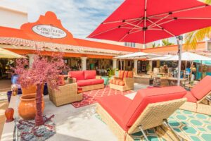 Collection of red outdoor furniture for sale in Cabo San Lucas, Mexico