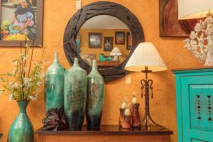 Blue vases, a lamp, and other home decor at furniture store in San Jose del Cabo, Mexico