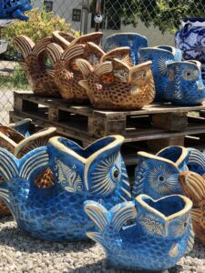 Mexican blue and brown clay fish flower pots