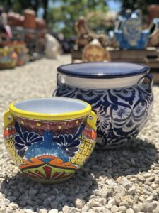 Colorful Mexican talavera rounded flower pots with handles
