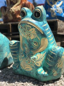 Handpainted clay frog flower pot from Mexico, sold at Lake of the Ozarks