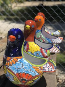 Colorful Mexican talavera bird flower pots