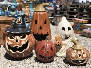 Five Halloween clay garden sculptures, made in Mexico and sold at Lake of the Ozarks