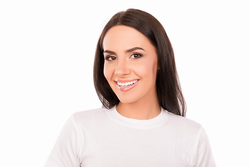 result teeth whitening young woman
