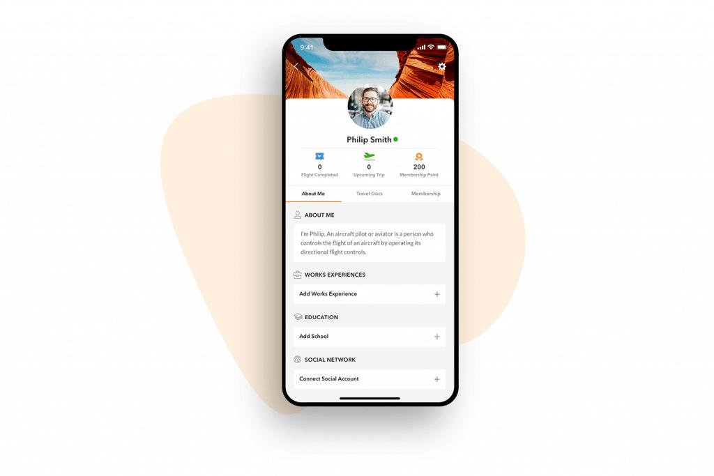 Hopscotch Air App profile screen