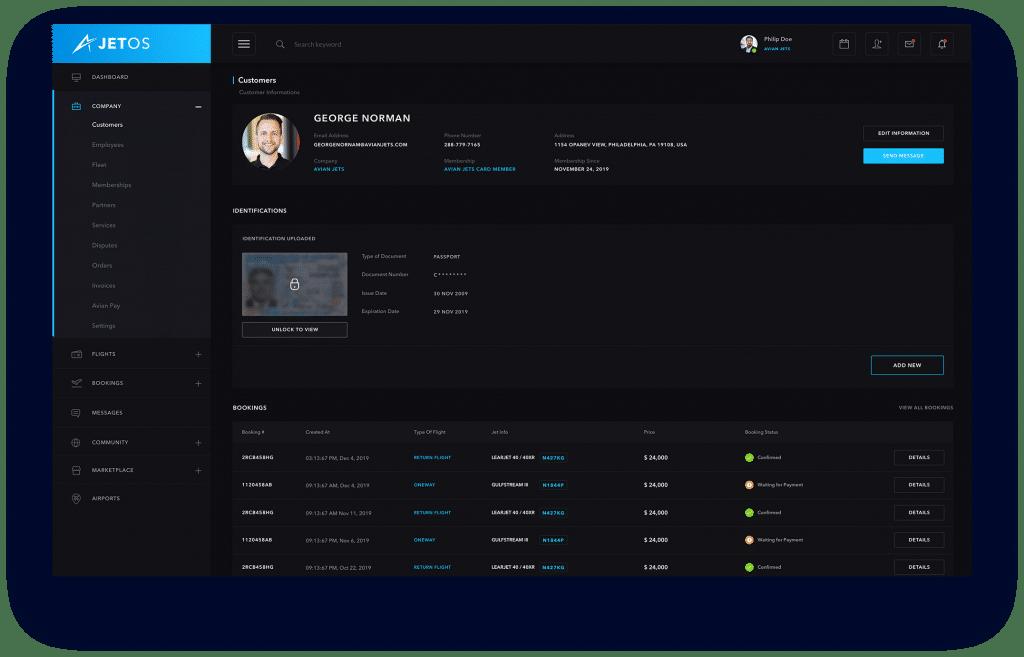 JetOS Customer Profile Screenshot