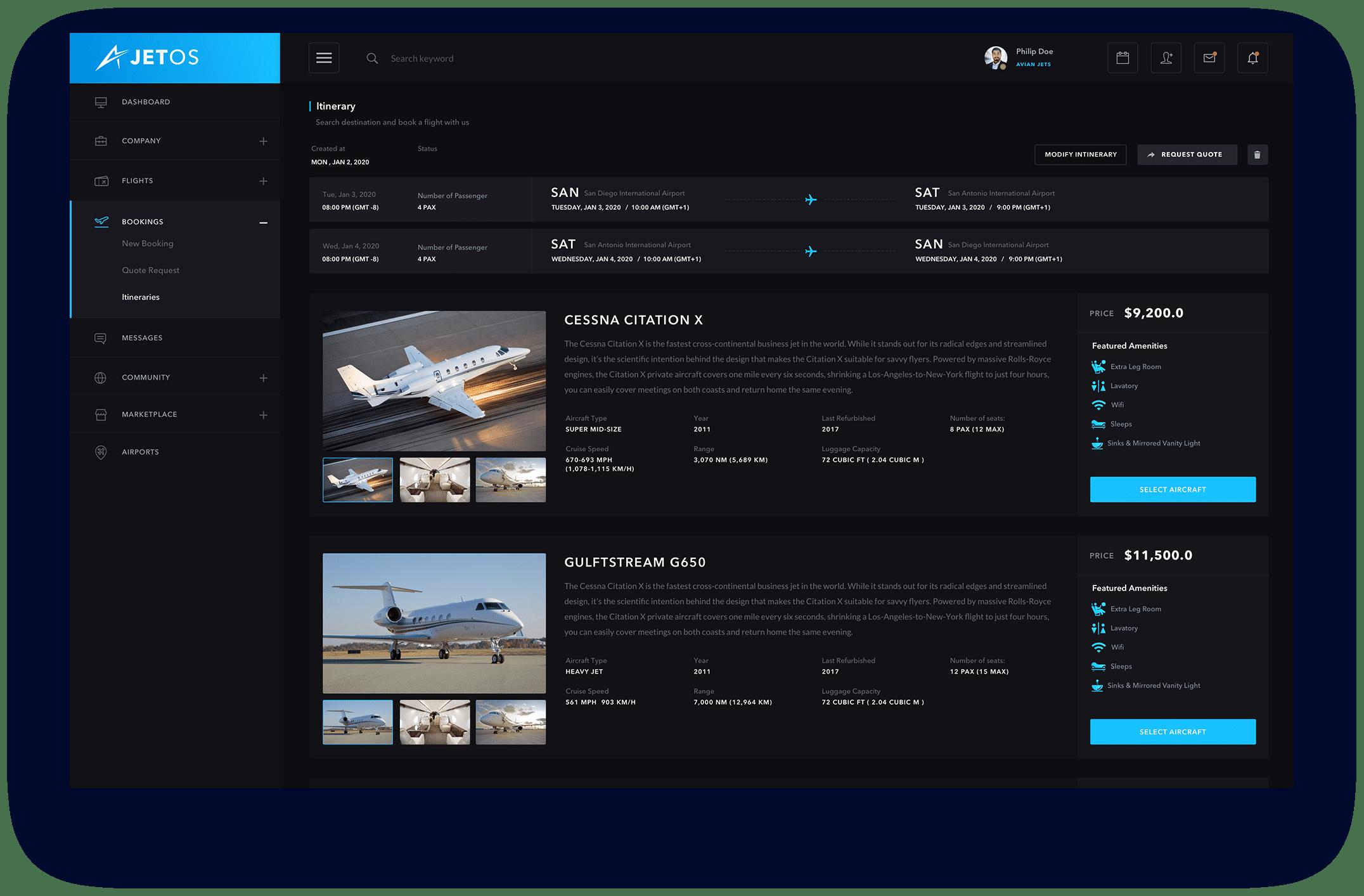 JetOS Select Aircraft