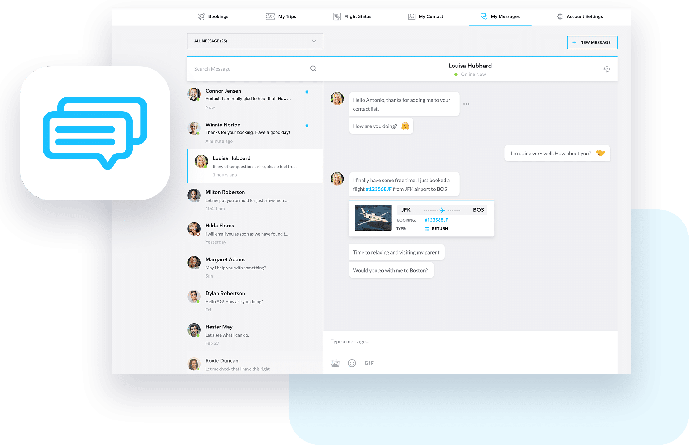 JetOS whitelabel Messenger screen shot