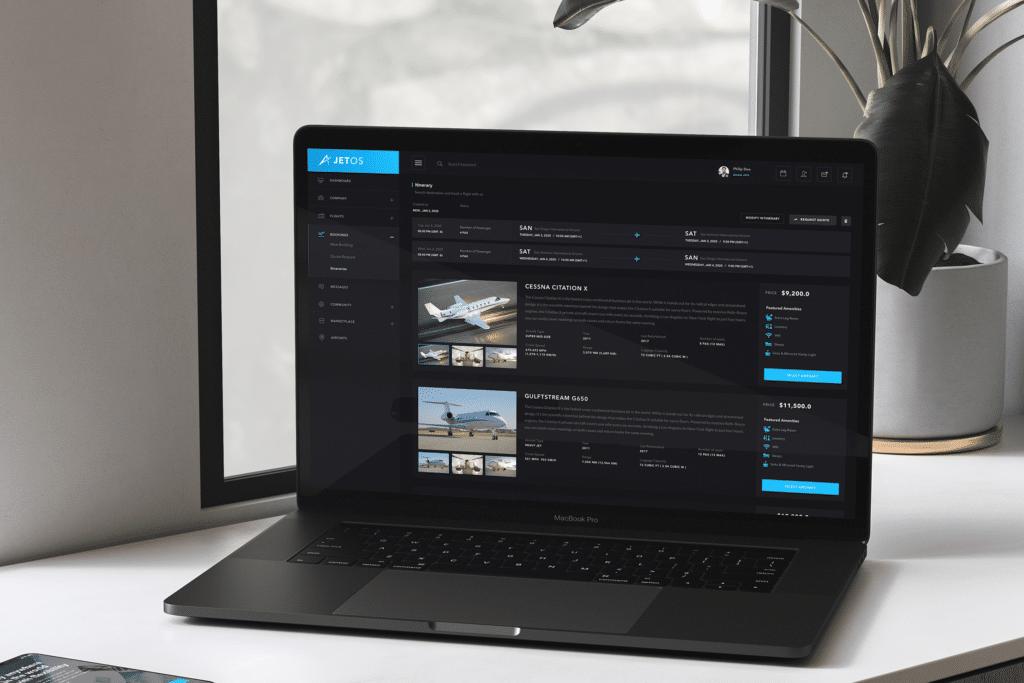 Macbook Displaying JetOS Select Aircraft Screen