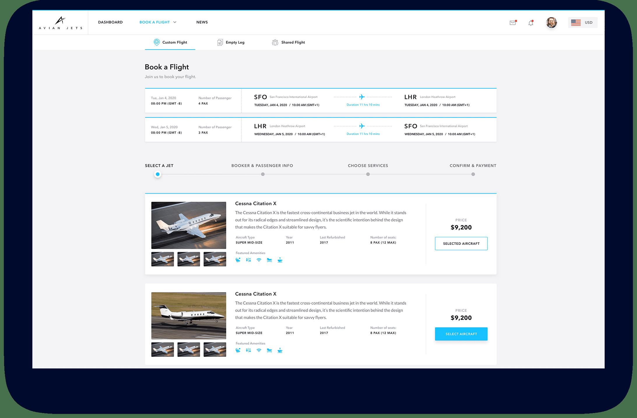 Web App Select Aircraft