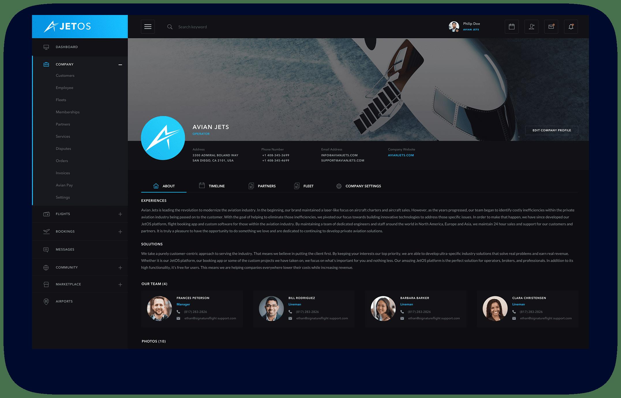 JetOS Company Profile Screen Shot