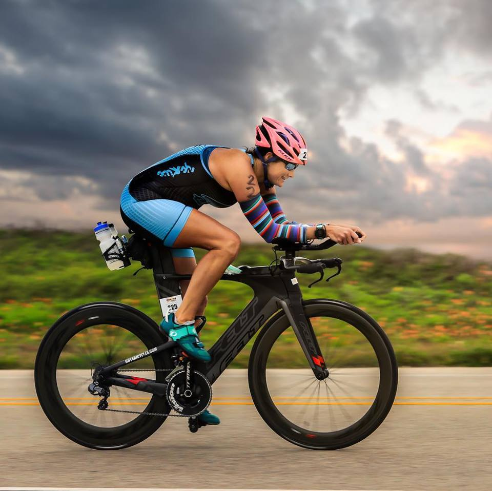 Coach Stacey on the bike at Galveston 70.3.
