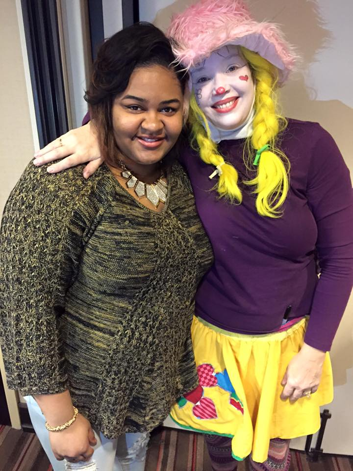 Corky Clown is making friends at a performance