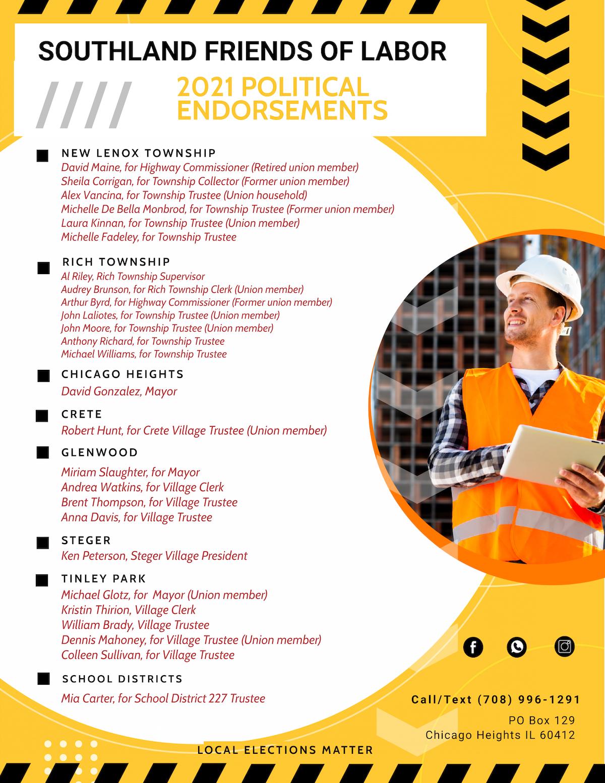 2021 Southland Friends of Labor political endorsements