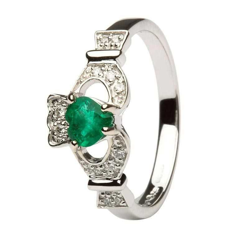 Ladies Claddagh Ring With Emerald And Diamond - 14k White Gold - 14L68WED