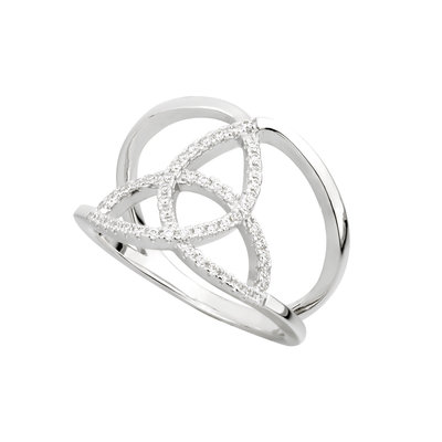 Sterling Silver CZ Trinity Knot Ring