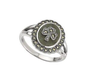 Connemara Marble Sterling Silver Shamrock Marcasite Ring