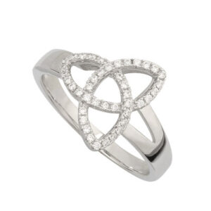 Sterling Silver Cubic Zirconia Trinity Knot Ring