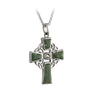 Connemara Marble 4 Trinity Silver Celtic Cross