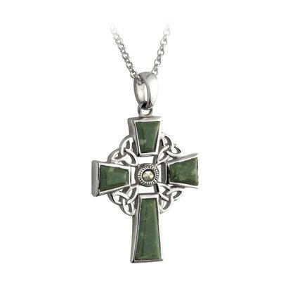 Connemara Marble 4 Trinity Silver Celtic Cross