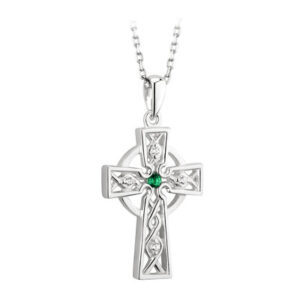 Sterling Silver Celtic Cross with Green C/Z