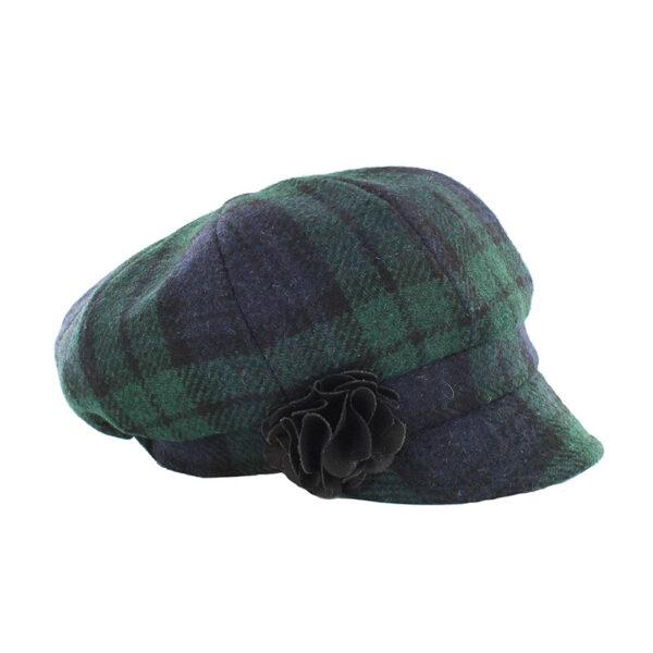 Ladies Irish Hat Newsboy Blacwatch
