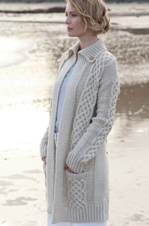 Ladies Open Long Aran Cardigan A108-415