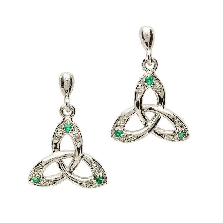SE2028 - Celtic Trinity Knot Earring Set with Emerald and Diamond