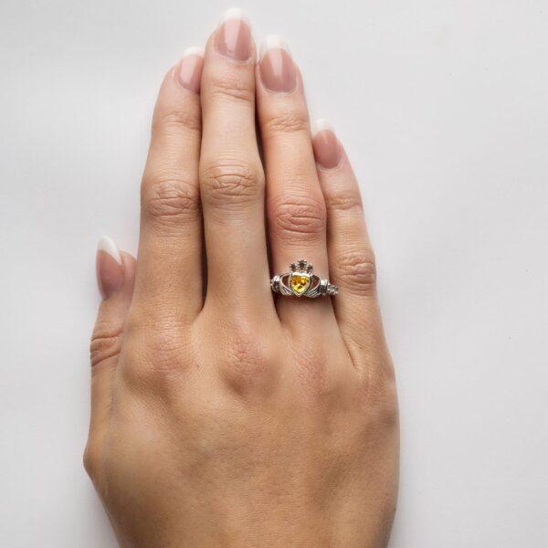 Claddagh November Birthstone Ring on hand