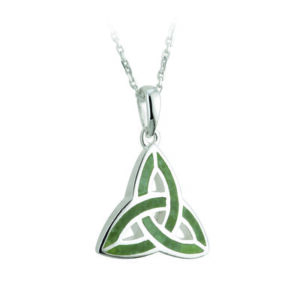 S44701 - Connemara Marble Trinity Knot Celtic Pendant - Sterling Silver