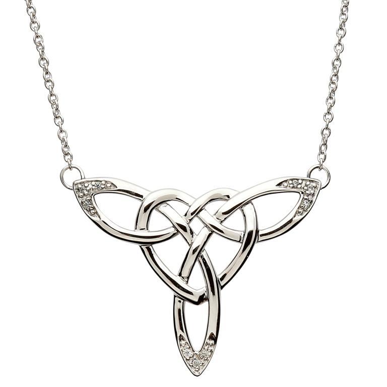 SP2110CZ - Intricate Celtic Knot Silver Design Necklace