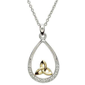 SP2072CZ - Silver Stone Set Necklace With Gold Plated Trinity