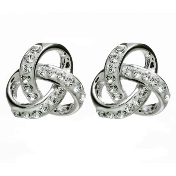 SW98 - Silver Trinity Knot Earrings Encrusted With White Swarovski Crystal