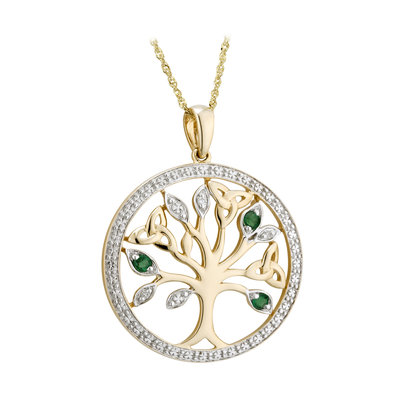 S46105 Tree of Life Pendant - 14K Gold with Diamonds and Emeralds