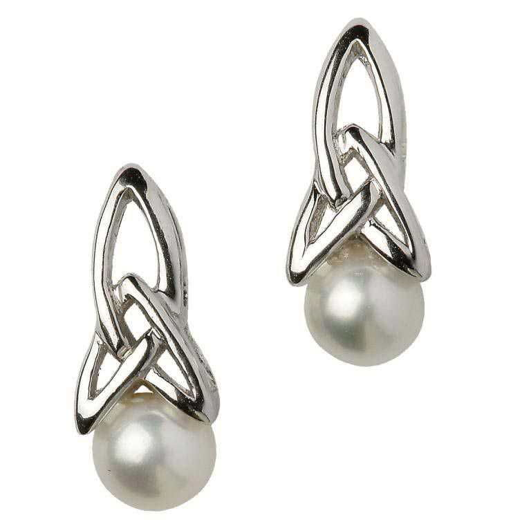SECP1 - Celtic Silver Pearl Earrings
