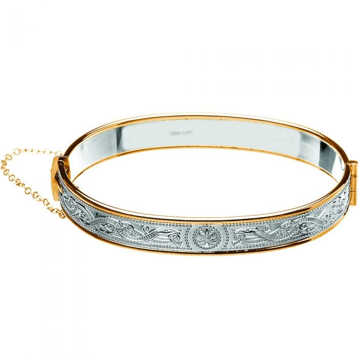 Celtic Warrior Shield Bangle with Rolled Gold Trims - BCT68-SILVER