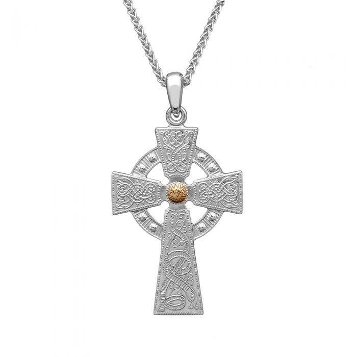 Celtic Warrior Silver Cross with Rose Gold Bead - Large - WC4B-Rose-SIL