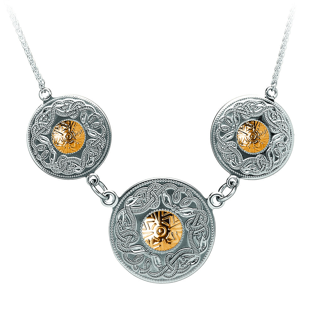 Celtic Warrior Silver Necklace – Triple Disc with Gold Beads-WP3B-SIL
