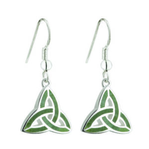 Connemara Marble Trinity Knot Celtic Earrings – S33301- Silver