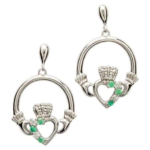 Open Heart Claddagh Silver Earrings - SE1053GRCZ