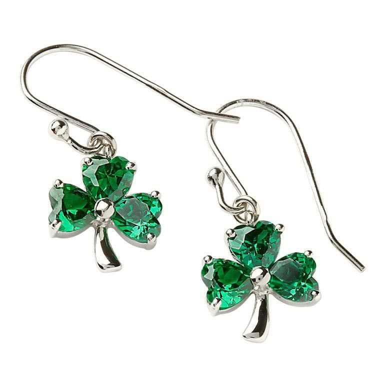 Stone Set Shamrock Silver Green Earrings