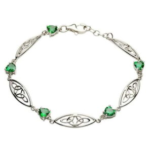 Celtic Stone Set Trinity Bracelet - SB2018GR-Silver