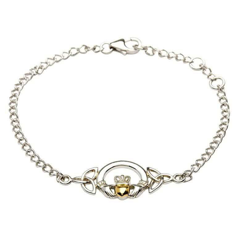 Claddagh Bracelet with 14K Gold Plate Heart - SB2015-Silver