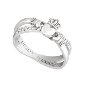 Silver Claddagh Crossover Ring - S21063