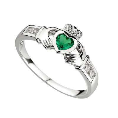 Silver Claddagh Green CZ Ring - S2594