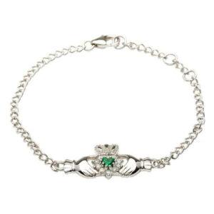 Silver Claddagh Stone Set Bracelet - SB1079GRCZ