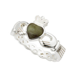 Silver Connemara Marble Claddagh Weave Ring - S2887