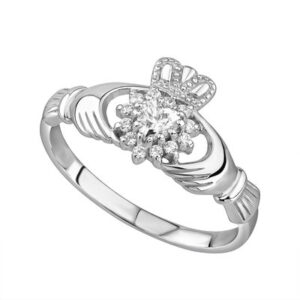 Silver Crystal Cluster Claddagh Ring - S2727