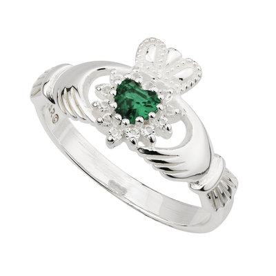 Silver Crystal Heart Claddagh Ring - S2941